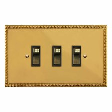 Regency Rocker Light Switch 3 Gang Polished Brass Lacquered & Black Trim