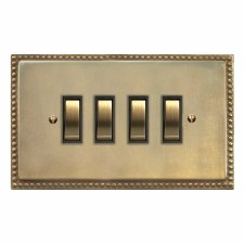 Regency Rocker Switch 4 Gang Antique Satin Brass