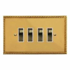 Regency Rocker Light Switch 4 Gang Polished Brass Lacquered & White Trim