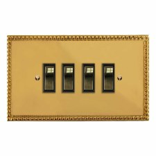 Regency Rocker Light Switch 4 Gang Polished Brass Lacquered & Black Trim