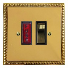 Regency Switched Fused Spur Illuminated Polished Brass Lacquered & Black Trim