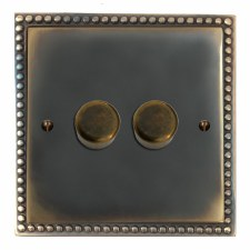 Regency Dimmer Switch 2 Gang Dark Antique Relief
