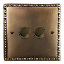 Regency Dimmer Switch 2 Gang Hand Aged Brass