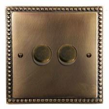 Regency Dimmer Switch 2 Gang Hand Aged Brass