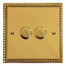 Regency Dimmer Switch 2 Gang Polished Brass Unlacquered