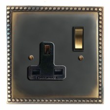 Regency Switched Socket 1 Gang Dark Antique Relief