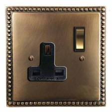 Regency Switched Socket 1 Gang Hand Aged Brass