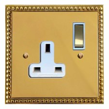 Regency Switched Socket 1 Gang Polished Brass Lacquered & White Trim