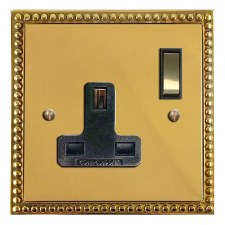 Regency Switched Socket 1 Gang Polished Brass Lacquered & Black Trim