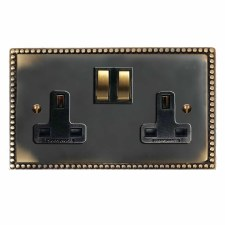Regency Switched Socket 2 Gang Dark Antique Relief