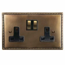 Regency Switched Socket 2 Gang Hand Aged Brass