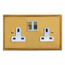 Regency Switched Socket 2 Gang Polished Brass Lacquered & White Trim