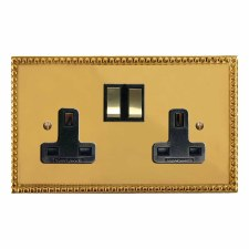 Regency Switched Socket 2 Gang Polished Brass Lacquered & Black Trim
