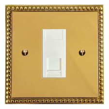 Regency Telephone Socket Secondary Polished Brass Lacquered & White Trim