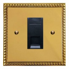 Regency Telephone Socket Secondary Polished Brass Lacquered & Black Trim