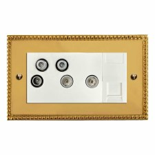 Regency Sky+ Socket Polished Brass Lacquered & White Trim