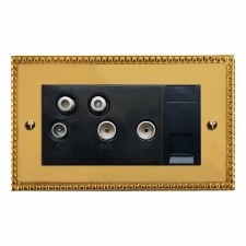 Regency Sky+ Socket Polished Brass Lacquered & Black Trim