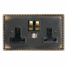 Regency Switched Socket 2 Gang USB Dark Antique Relief