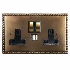 Regency Switched Socket 2 Gang USB Hand Aged Brass
