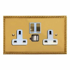 Regency Switched Socket 2 Gang USB Polished Brass Lacquered & White Trim