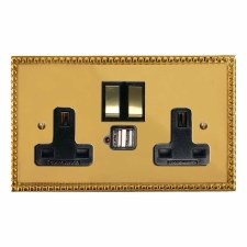 Regency Switched Socket 2 Gang USB Polished Brass Lacquered & Black Trim
