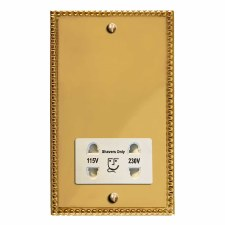 Regency Shaver Socket Polished Brass Lacquered & White Trim