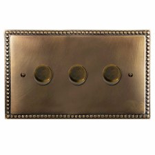 Regency Dimmer Switch 3 Gang Hand Aged Brass