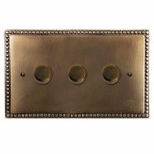 Regency Dimmer Switch 3 Gang Hand Aged Brass