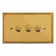 Regency Dimmer Switch 3 Gang Polished Brass Lacquered