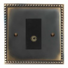 Regency TV Socket Outlet Dark Antique Relief