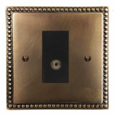 Regency TV Socket Outlet Hand Aged Brass