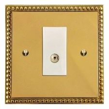 Regency TV Socket Outlet Polished Brass Lacquered & White Trim