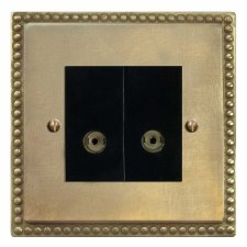 Regency TV Socket Outlet 2 Gang Antique Satin Brass