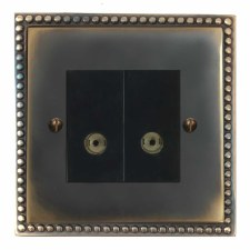 Regency TV Socket Outlet 2 Gang Dark Antique Relief