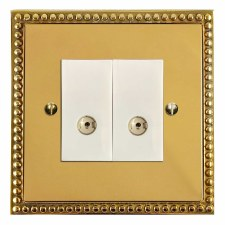 Regency TV Socket Outlet 2 Gang Polished Brass Lacquered & White Trim