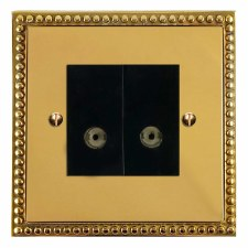 Regency TV Socket Outlet 2 Gang Polished Brass Lacquered & Black Trim