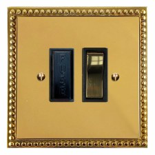 Regency Switched Fused Spur Polished Brass Lacquered & Black Trim