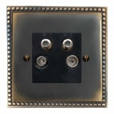Regency Quadplex TV Socket Dark Antique Relief