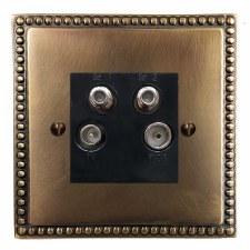 Regency Quadplex TV Socket Hand Aged Brass