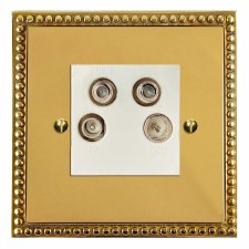 Regency Quadplex TV Socket Polished Brass Lacquered & White Trim