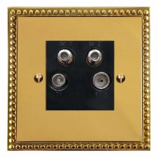 Regency Quadplex TV Socket Polished Brass Lacquered & Black Trim