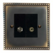 Regency Satellite & TV Socket Outlet Dark Antique Relief