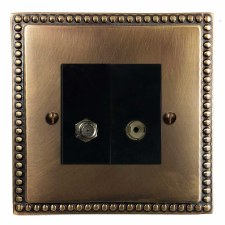 Regency Satellite & TV Socket Outlet Hand Aged Brass