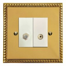 Regency Satellite & TV Socket Outlet Polished Brass Lacquered & White Trim
