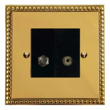 Regency Satellite & TV Socket Outlet Polished Brass Lacquered & Black Trim