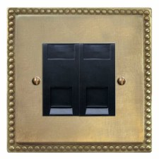 Regency Telephone Socket Secondary 2 Gang Antique Satin Brass