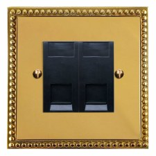 Regency Telephone Socket Secondary 2 Gang Polished Brass Lacquered & Black Trim
