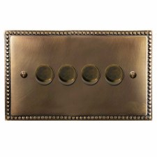 Regency Dimmer Switch 4 Gang Hand Aged Brass