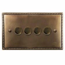 Regency Dimmer Switch 4 Gang Hand Aged Brass