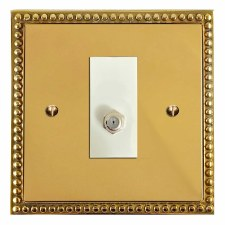 Regency Satellite Socket Polished Brass Lacquered & White Trim